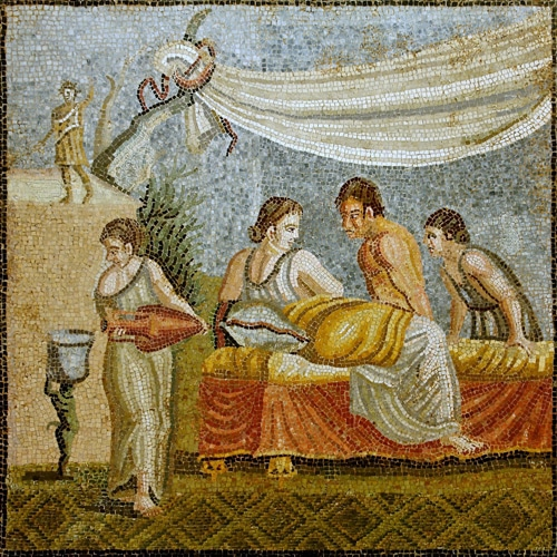 Roman mosaic -  Love Scene - Orginating from Centocelle (Rome, Italy) - Exposed at the Kunsthistorisches Museum (Vienna, Austria)